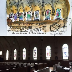 Watercolor and ink sketch at Sacred Heart Catholic Church in Murdock, Minnesota by Jannet Walsh, All rights reserved.