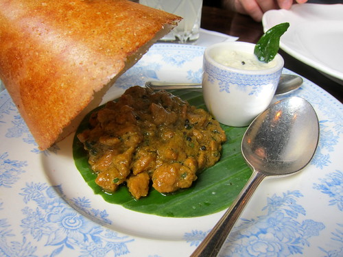 Dosa, Chettinad Duck, Coconut Chutney
