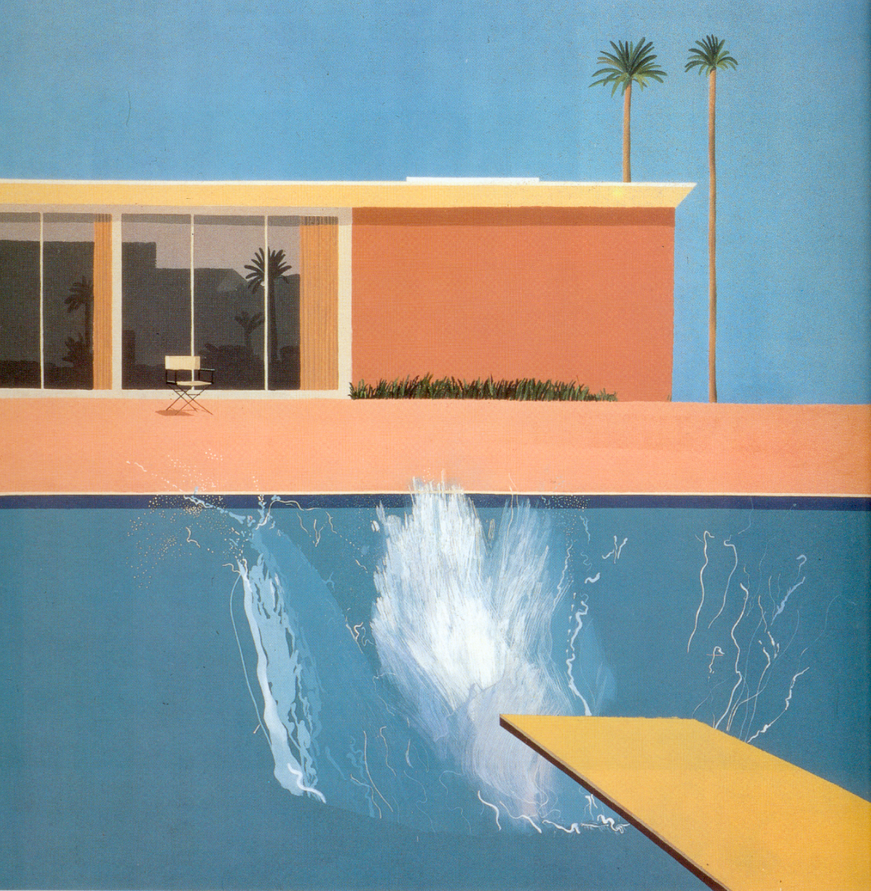 Review the tate modern a bigger splash painting - David hockney swimming pool paintings ...