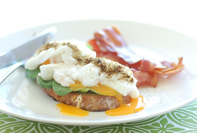 bacon with poached egg & za'atar