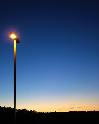 sunset streetlamp ohio silhouette blue sky