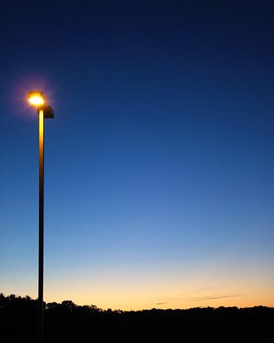 sunset streetlamp ohio silhouette blue sky