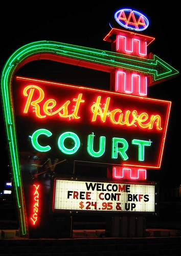 Rest Haven Court Sign At Night