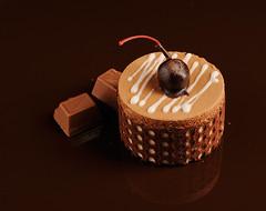 chocolate cake on a dark background