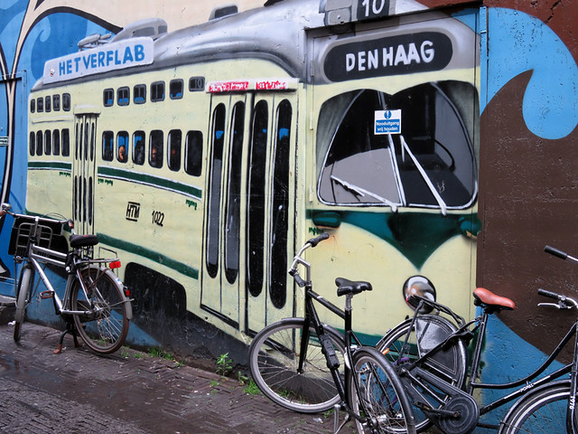 In Den Haag, a Bus Mural with Bikes