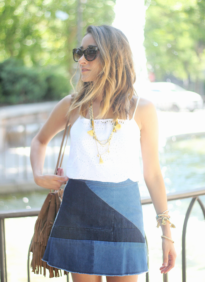 Denim Skirt White Top Outfit07