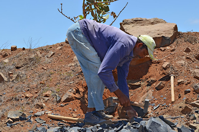 Stone worker on Sao Vicente, Cape Verde