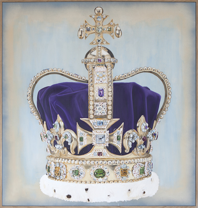 Lars Bjerre_The Robbery (St. Edwards Crown), Oil, pigment & spray on canvas. 160x150 cm. Oak frame (163x153x4 cm). 2015