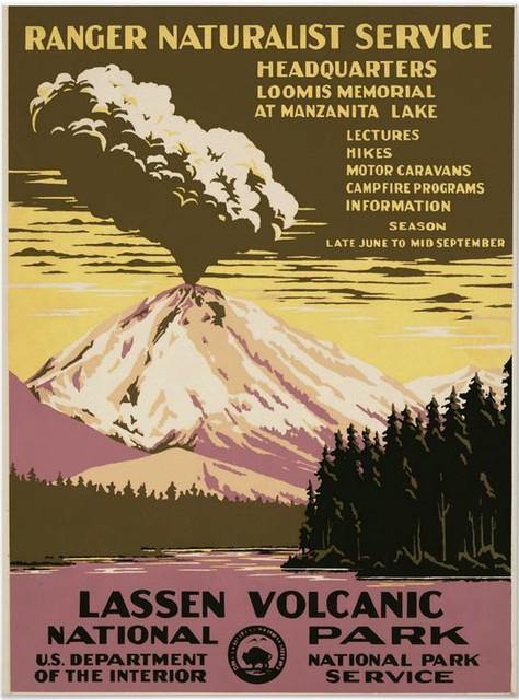 WPA Poster, Ranger Naturalist Service, Lassen Volcanic National Park, California