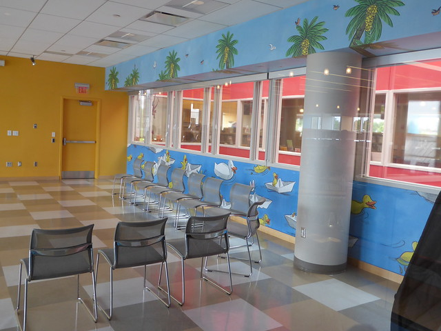 activity room with mural, children's room, Main Library, Cambridge Public Library, MA