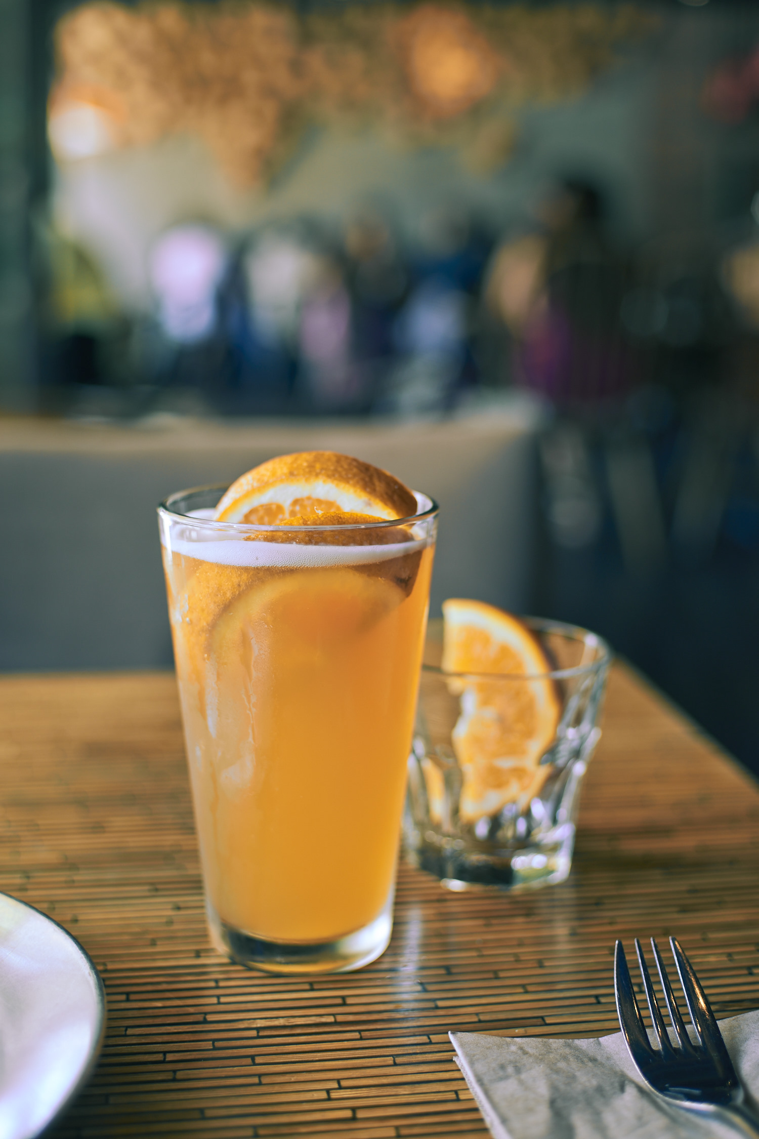 Blue moon with extra orange is a good way to start a lunch