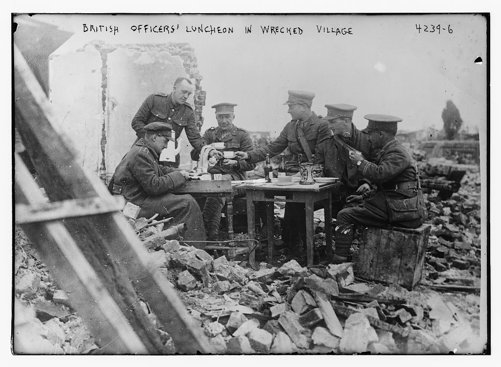 British officers' luncheon in wrecked village (LOC)