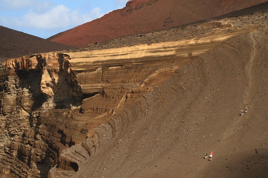 Climbing Capelinhos volcano