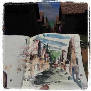 #camping #iratxe #watercolor #pencil #urbansketch