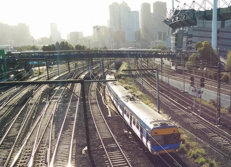 Train exits City Loop approaching Richmond