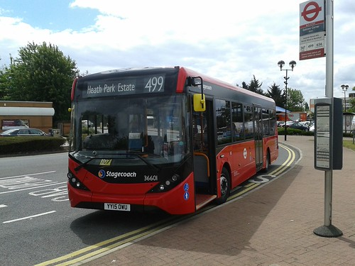 Stagecoach London 36601 on Route 499, Gallows Corner Tesco