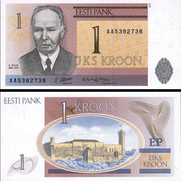1 estónska koruna Estónsko 1992, Pick 69a