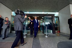 U.S. Secretary of State John Kerry departs the Harry S. Truman Building's main entrance for a final time, after delivering farewell remarks to employees at the U.S. Department of State in Washington, D.C., on January 19, 2017. [State Department photo/ Public Domain]