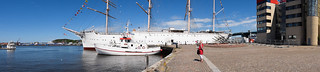 Image of Barken Viking. sea panorama water marina boats operahouse riverbank barkenviking göteborgsoperan lillabommen gothenburgopera