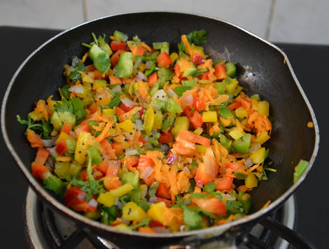 sauteing vegetables for  savory rava cake