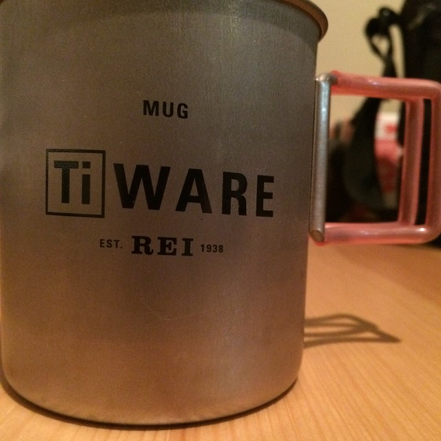 A titanium mug from REI. I've owned it 13 or so years now.