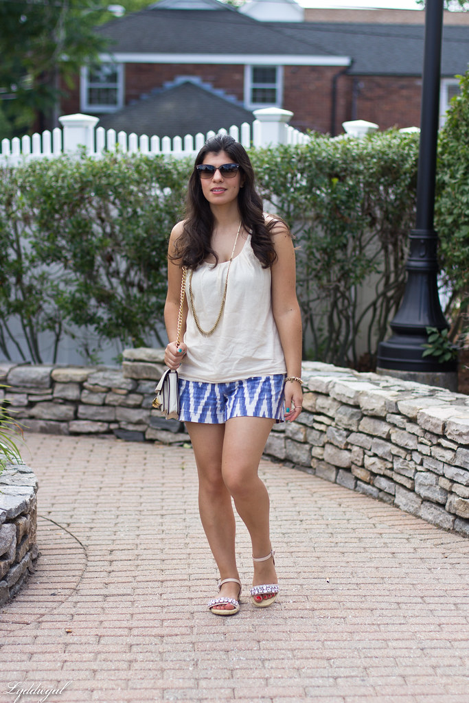 ikat print shorts, cream tank, jeweled sandals-1.jpg