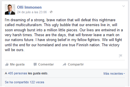 Olli Immonen facebook post