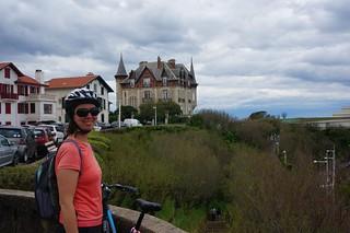 Caroline biking through Biarritz