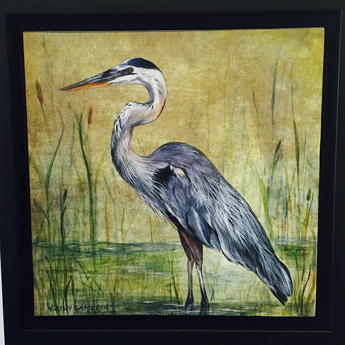 "Kathy Cameron's ""The Marsh"".  Beautiful little 8x8 painting! #southshoregallery #sookebc #artgallery #art #herons #yyj #yvr"