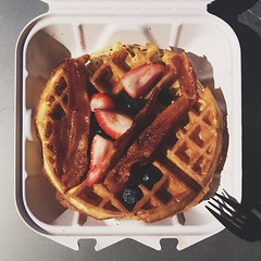 Today on #eatingstuffatmicrosoft  - DIY waffle maker action at the Commons