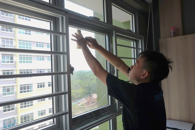 Cleaning the windows and ensuring it's dust-free & good for installation!