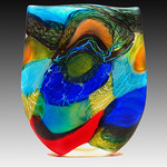 Noel Hart; Sapphire Rumped Parrotlet; Blown glass; 18.5x15.5x2.5; 2015 -