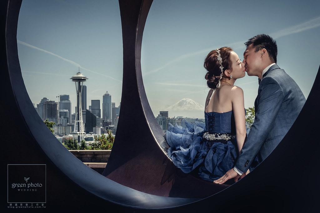 綠攝影像,海外婚紗,自助婚紗,武少,自主婚紗,西雅圖,SpaceNeedle,Seattle,PublicMarket,華盛頓大學,UW