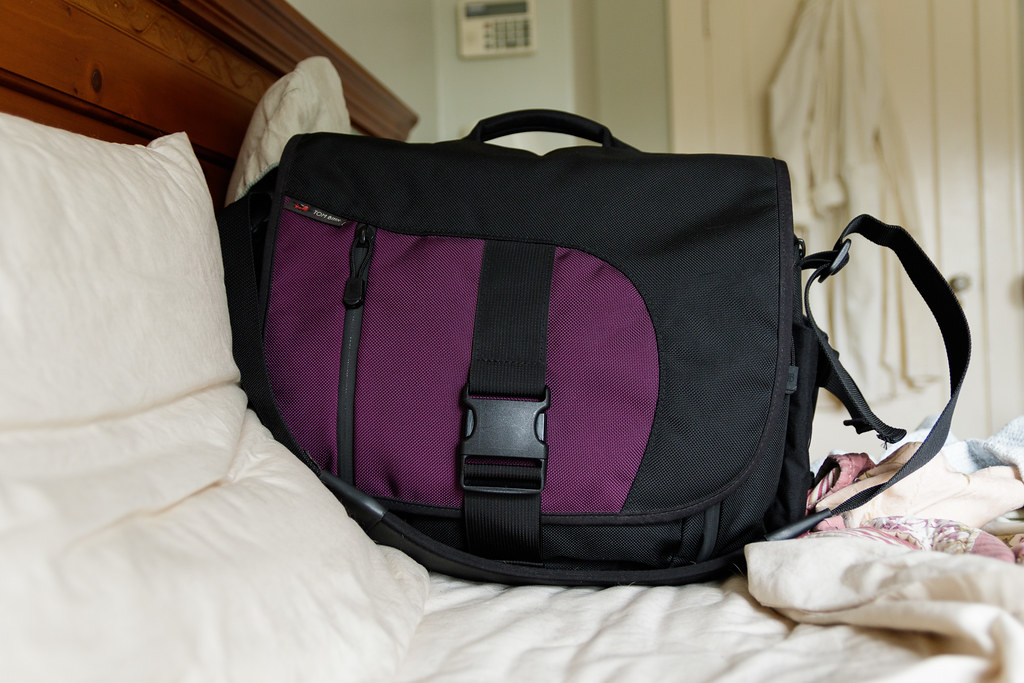 My Tom Bihn ID messenger bag in Aubergine
