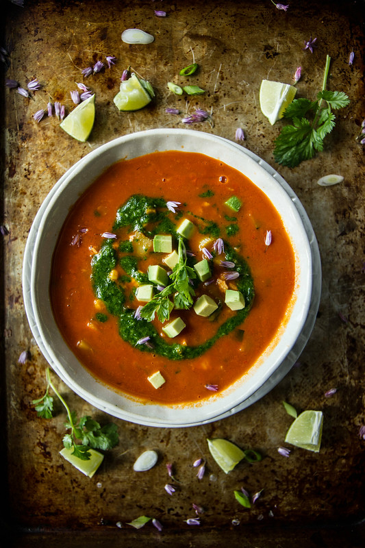 Southwestern Vegetable Soup with Spicy Cilantro Sauce