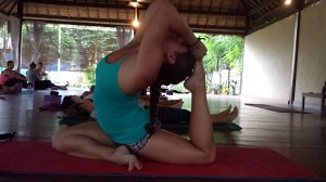 Practice is paying off!  I touched my foot to my head in King Pigeon for the first time on Gili T!  Whoop Whoop!