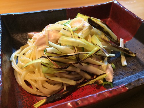 黄ニラと鶏肉、青唐辛子のパスタ@ガッロ(Gallo)