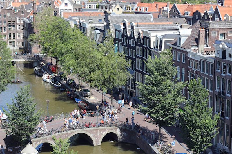 View of Oudezijds Voorburgwal from Oude Kerk Amsterdam