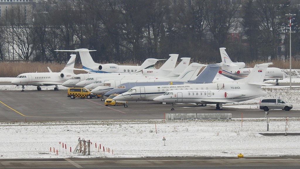 Biz jets at ZRH Zurich Airport Switzerland / WEF visitors
