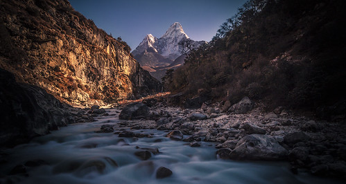 backpacking everest everestbasecamp himalayas landscape longexposure mountain nature nepal outdoor river travel trekking water
