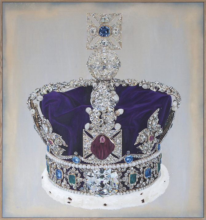 Lars Bjerre_The Robbery (The Imperial State Crown), Oil, pigment & spray on canvas. 161x150cm. Oak frame (164x154x4 cm). 2015