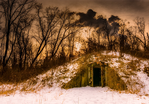 old winter sunset sky orange snow cold color abandoned nature horizontal architecture clouds forest underground landscape concrete outdoors frozen us doors unitedstates steel ruin nobody storage historic foliage westvirginia freeze derelict mounds mothman pointpleasant masoncounty mcclintock igloos tntarea