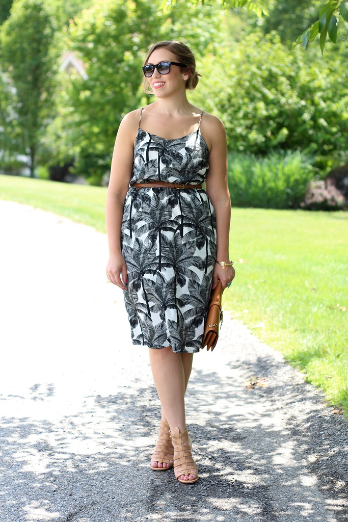 Black and White Palm Tree Dress