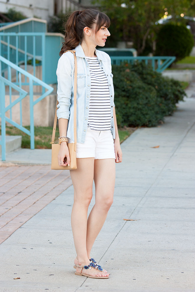 Fibi and Clo Sandals, White Shorts, Striped Tee