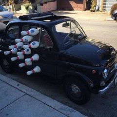 Strange vehicle parked at pinhole coffee this morning #bernalwood #bernalheights #pinholecoffee