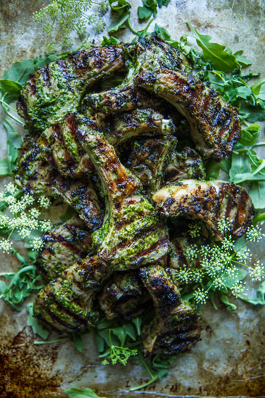 Fresh Herb Pesto Grilled Lamb Chops