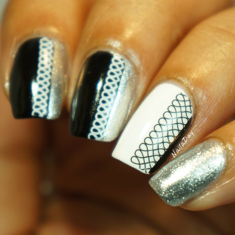 NailaDay: Black and White Skittlette using Born Pretty Store water decals