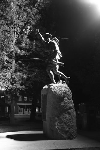 bw statue illinois wwi nighttime warmemorial doughboy freeburg