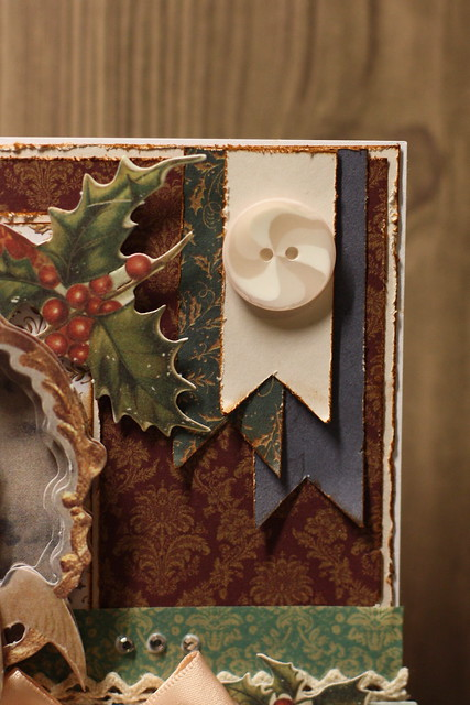 Victorian Christmas card button and banners