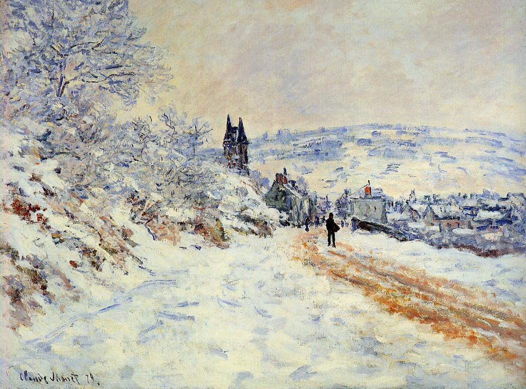 The Road to Vetheuil, Snow Effect by Claude Oscar Monet - 1879